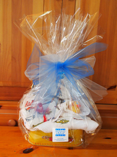 Boy's gift wrapped basket