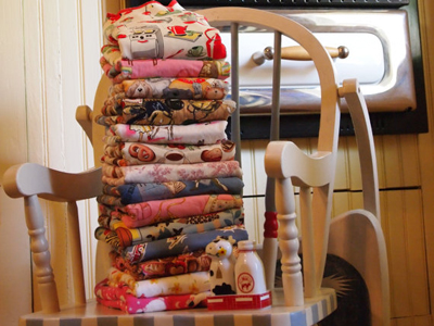 Antique highchair with folded bibs